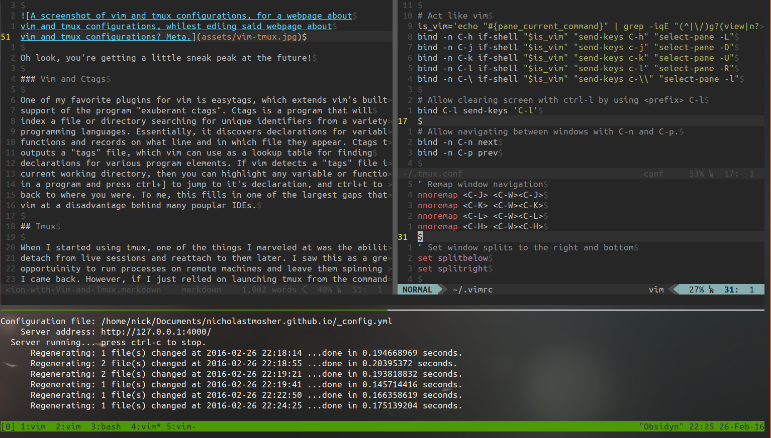 A screenshot of vim and tmux configurations, for a webpage about vim and tmux configurations, whilest ediing said webpage about vim and tmux configurations? Meta.